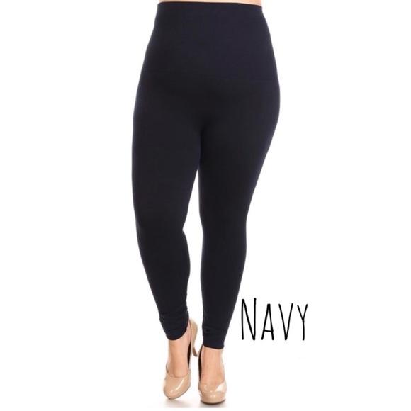 b90ad3332ac High Waist Tummy Compression Legging - Navy